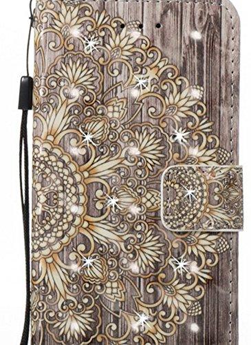 BANCN Dauerhaft Folding Linien Muster Folio Phone Holster PU Leder Wallet Case Pouch (lila)