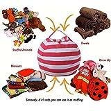 Spielzeug Aufbewahrungstaschen mit reißverschluss, Sitzsack Kinder Stofftier Kuscheltiere Aufbewahrung Aufbewahrungstasche Soft Pouch Stoff Stuhl 61x61cm (Rot)