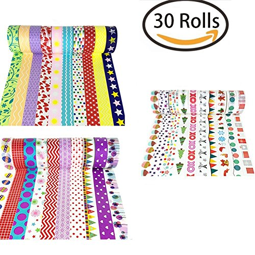 RSPrime 30 Rotoli Adesivi Decorativo Washi Tape Nastro Adesivo Scrapbooking DIY Craft Regalo Colorato e Motivi Design Decorativo Mascheratura Collection per Decorazione dello Scrapbook, Avvolgimento di Regali