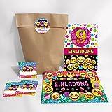 JuNa-Experten 12-er Set Einladungskarten, Umschläge, Geschenktüten, Aufkleber zum 9. Kindergeburtstag für Mädchen / Einladung neunte Geburtstag