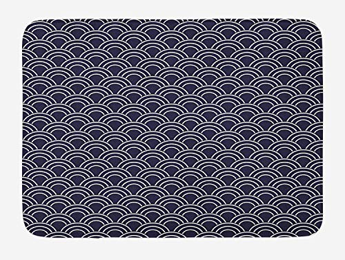 ZKHTO Geometric Bath Mat, Marine Inspired Ornamental Abstract Sea Design with Half Circle Wave Pattern, Plush Bathroom Decor Mat with Non Slip Backing, 23.6 W X 15.7 W Inches, Dark Blue Cream -