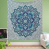 Grande exclusivo verde azul Ombre Mandala tapiz por raajsee, Bohemian tapiz, colgar en la pared Glorafilia, Hippie Hippy Tapestry Tamaño 210 * 230 cms
