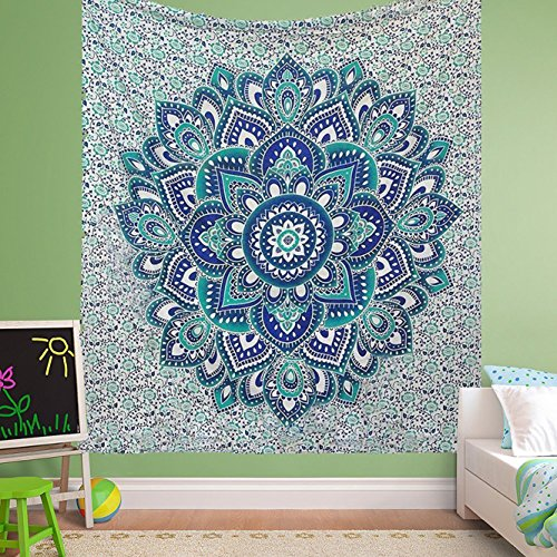 large-exclusive-green-blue-ombre-mandala-tapestry-by-raajsee-bohemian-tapestry-wall-hanging-tapestry