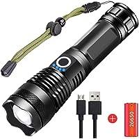 Torcia LED XHP70 Super Luminoso 5000 Lumens, USB Ricaricabile 5 Modalità Potente Torcia Elettrica Zoomable Impermeabile…