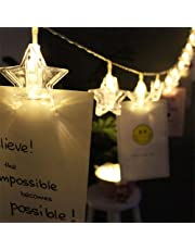 Techno E-Tail 20 LED Star Photo Clip String Lights, Home Decoration Hanging Fairy Lights, Photo Clips Warm White
