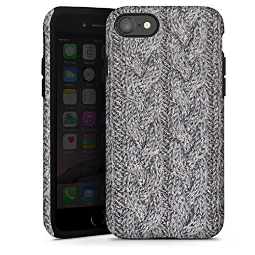 Apple iPhone X Silikon Hülle Case Schutzhülle Wolle Look Stricken Muster Tough Case glänzend