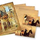 Briefpapier Set Pferde Präsentmappe »Pferdepaar in Westernromantik«