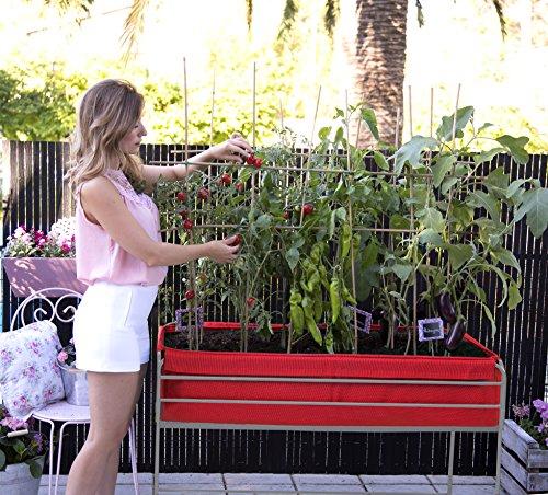 Hochbeet Veggie bag, Pflanzbeet, Kräuterbeet, Gemüsebeet für Balkon & Terrasse 126x64x80 cm.Rotem Textilenesack