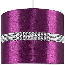 MiniSun – Moderna y decorativa pantalla cilíndrica para lámpara de techo – de polycotton, color morado y efecto diamante