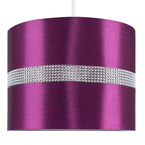 MiniSun - Moderner Lampenschirm in Zylinderform mit lilafarbenem Finish und elegantem Diamant Streifen für Hänge- / Pendelleuchte oder Stehlampe - für Hänge- und Pendelleuchte