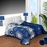 Colcha reversible estampada YONES, en tonos azules de muy fácil lavado. (cama de 135)