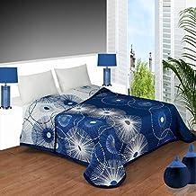 Colcha reversible estampada YONES, en tonos azules de muy fácil lavado. (cama de 90)