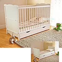 Free UK Delivery White Solid Wood Baby Cot Bed with Drawer & Deluxe Water Repellent Mattress Converts into a Junior Bed Height Adjustable