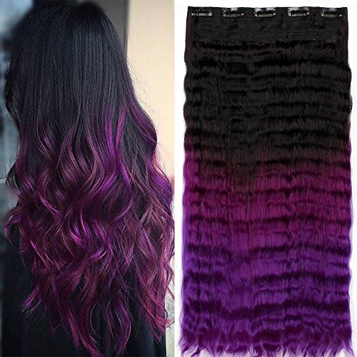 Neverland Beauty 60cm Clip in Lang Perücke Ombre Lose Wellenhaare Wig Synthetische Haar Two Tone Haarverlängerungen Perücken Schwarz zu Violett (Schwarze Haare Lila)
