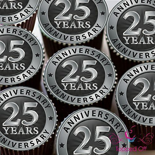 '15x 2(5cm) vorgeschnitten redondo Happy 25. Aniversario comestibles Taza para tartas cabezales Decoración de Topped Off