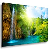 Bilder Kunstdrucke / Boikal / Leinwand Bild mit Keilrahmen Wald, Wasserfall 100x70 cm xxl.693