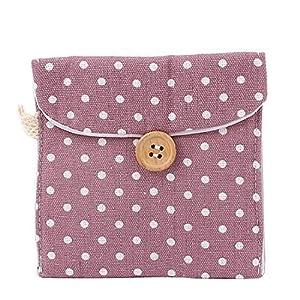 Lady Cotton Blend Polka Dot Sanitary Pad Napkin Bag Pouch Light Purple