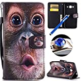 Samsung Galaxy J3 2015/2016 Leather Case,Samsung Galaxy J3 2015/2016 Wallet Case, Etsue Cute Colorful Pattern Style Flip Leather Wallet Case Cover Retro Strap Lanyard Design Bookstyle Card Slots Flip Protective Magnetic Cover for Samsung Galaxy J3 2015/2016+Blue Stylus Pen+Bling Glitter Diamond Dust Plug(Colors Random)-Funny Brown Monkey