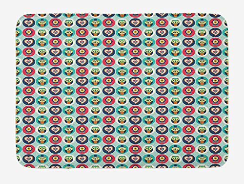 CHKWYN Abstract Bath Mat, Cute Owl Inside Heart and Circles Flowers Funny Baby Children Playroom Design, Plush Bathroom Decor Mat with Non Slip Backing, 23.6 W X 15.7 W Inches, Multicolor -