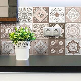 ambiance-live col-tiles-ros-a890_ 10x 10cm Aufkleber Fliesen, Mehrfarbig, 10x 10cm, 15-teiliges Set