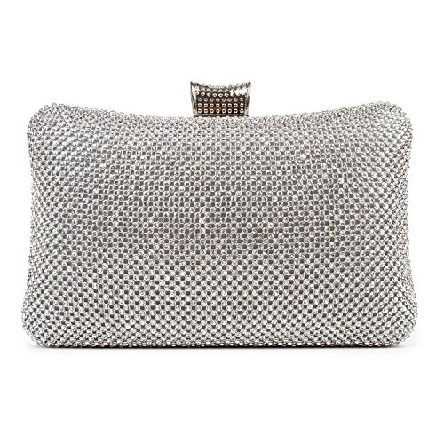 BAIGIO Ladies Evening Bag Sparkle Crystal Diamante Clutch Prom Wedding Bag Silver