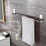Tomzon Selbstklebender Handtuchhalter mit 5 Haken, 40cm Handtuchstange Ohne Bohren geb¨¹rstetem Edelstahl. Einfach zu installieren