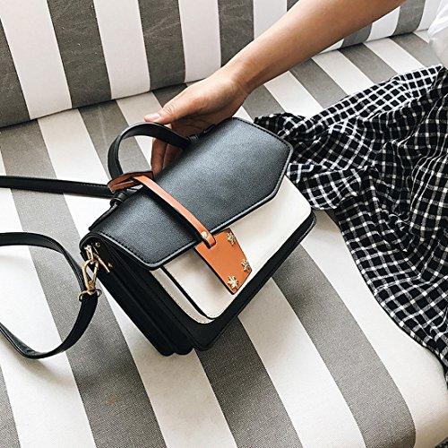 Weibliche Hit Farbe Tragbares Kleine Quadratisches Paket Arbeiten Schulterbeutel Einfaches Diagonalpaket Schwarz