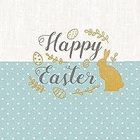 """Serviette Papierserviette """"Easter Lettering blau"""" 5/20 Stück mehrlagig Servietten Tischdeko basteln Serviettentechnik 33x33cm"""