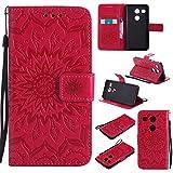 LG / Google Nexus 5X Cover, Docrax Custodia Portafoglio in Pelle Porta Carta di Credito con Funzione di Supporto di Stand Antiurto Flip Cover a Libro per LG Nexus 5X (H791) - DOKTU40551 Rosso