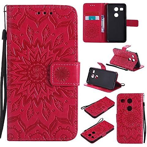 Coque pour LG Nexus 5X,Housse en cuir pour LG Nexus 5X,Ecoway Tournesols de motifs en relief étui en cuir PU Cuir Flip Magnétique Portefeuille Etui Housse de Protection Coque Étui Case Cover avec Stand Support Avec des Cartes de Crédit Slot et Fonction Support pour LG Nexus 5X – rouge