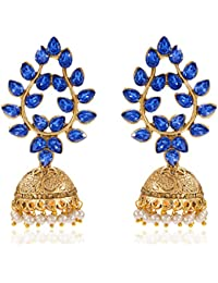 Peora 18 K Gold Plated Blue Leaf Golden Jhumkis Jhumaka Earrings For Women Girls