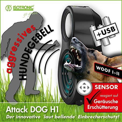 Preisvergleich Produktbild ISOTRONIC Elektronischer Wachhund als Einbruchschutz für Haus/Wohnung während der Nacht und im Urlaub, auch für Wohnwagen und Wohnmobil, Alarm mit Hundegebell, ohne Montage - mobil und abschaltbar