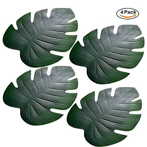 Künstliche Palmwedel, Tropische Palmblätter, Kunstpflanze, Tischsets für Hawaiianische Luau-Party, Dekor, 4pcs Big Palm Leaves, 46*37cm