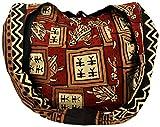 Guru-Shop Sac Sadhu, sac à Bandoulière, sac à Bandoulière Hippie Imprimé en Bloc - Rouge/marron, Mixte Adulte, Multicolore, Coton, Size:One Size, Sacs Sadhu, Sacs Hippie
