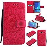 For Samsung Galaxy J5 2016 Case [Red],Cozy Hut [Wallet Case] Magnetic Flip Book Style Cover Case ,High Quality Classic New design Sunflower Pattern Design Premium PU Leather Folding Wallet Case With [Lanyard Strap] and [Credit Card Slots] Stand Function Folio Protective Holder Perfect Fit For Samsung Galaxy J5 2016 / SM-J510 5,2 inch - red
