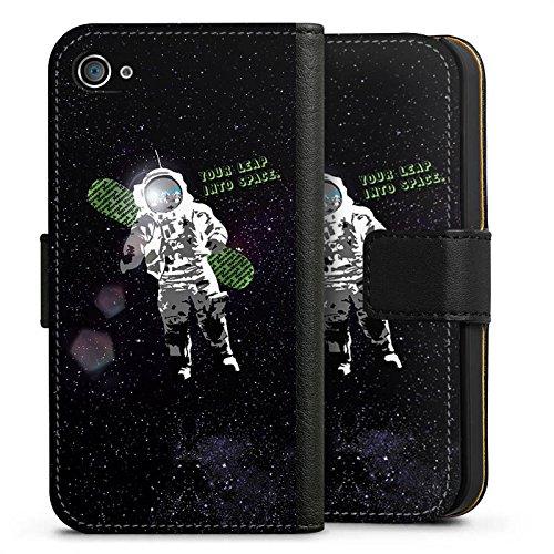 Apple iPhone X Silikon Hülle Case Schutzhülle Astronaut Weltall Fliegen Sideflip Tasche schwarz