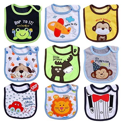 HaimoBurg Set di 9 Bavaglini, impermeabili Cotone, Disegni Bimbo Bavaglino Fumetto Modello Infante Baby Bambino Impermeabile Saliva Asciugamano Adatti a 0-2 anni (Set di 9 A)