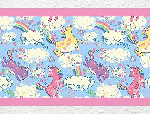 I-love-Wandtattoo b-10169 Kinderzimmer Bordüre 'Bunte Einhörner mit Regenbogen' Mädchen Wanddeko Wandaufkleber Wandsticker Wandtattoo
