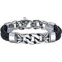 COOLMAN Herren Lederarmband schwarz mit Edelstahl Verschluss Armbänder Armband für Männer (mit Schmuckschatulle) - 23 cm