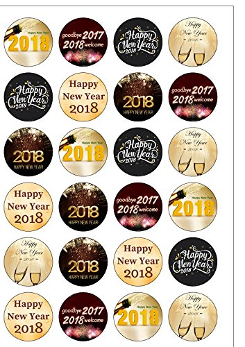24-vorgeschnittenen-Happy-New-Year-Eve-Party-2018-Mottoparty-Essbar-Wafer-Papier-Cupcake-Kuchen-Topper-Dekorationen