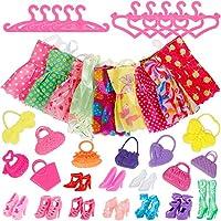 Faburo 40 Stück zubehör(10 Kleider, 10 Kleiderbügel, 10 Paar Schuhe und 10 Handtasche ) für Barbie Puppen