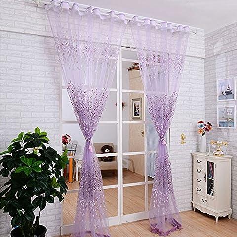omiky® 1100,1x 199,9cm Peach Blossom fenêtre rideau de porte, rideau en polyester pour salon balcon, Polyester, violet, 100*200cm/39.4*78.7