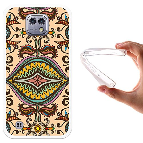 WoowCase LG X Cam Hülle, Handyhülle Silikon für [ LG X Cam ] Abstrakt Beige Muster Handytasche Handy Cover Case Schutzhülle Flexible TPU - Transparent Beige Cam Cover