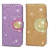 2x Coque pour Huawei Honor 10 Lite/P Smart 2019, Etui Diamant Poudre Bling Miroir PU+TPU Cuir Silicone Support Carte Portefeuille Fente Magnétique Housse - Violet Clair, Or
