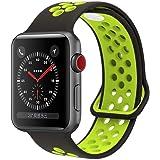 HILIMNY pour Bracelet Apple Watch 38MM 42MM, Engrener Bracelet Sport Doux in Silicone Remplacement avec innovant de Fermeture à Clou et Passant pour Apple Watch Serie 1, Serie 2, Serie 3