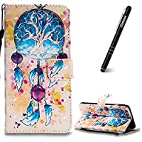 iPhone 6 Plus Case, iPhone 6 Plus Leather Case Wallet, Slynmax 3D Printing Campanula Design Flip Folio PU Leather Wallet Case Inner Soft TPU Cover with Stand Function Hand Strap Card Holders Magnetic Closure Book Style Shock Resistant Protective Case for