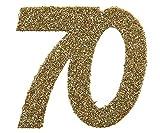 SANTEX 4604-70, Sachet de 6 confettis 6x5cm anniversaire, Or pailleté 70 ans