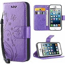 iPhone 5 Hülle,Solide Butterfly PU Ledercase Tasche Hülle Schutzhülle Flip Case Magnetverschluss Handyhülle im Wallet Bookstyle Standfunktion für Apple iPhone 5 5S SE - lila