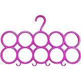 Kuber Industries 10-Circle Plastic Ring Hanger for Scarf, Shawl, Tie, Belt, Closet Accessory Wardrobe Organizer…