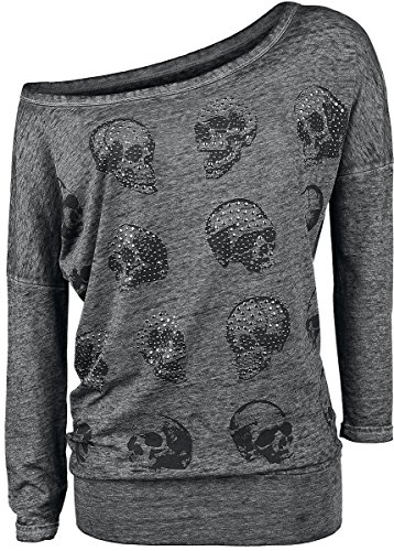 Rock Rebel by EMP Skull Pad Burnout Longsleeve Manica lunga donna grigio XS